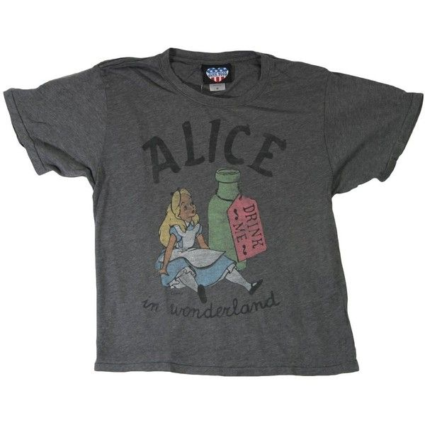 Junk Food Alice in Wonderland M ($23) ❤ liked on Polyvore featuring tops, t-shirts, shirts, tees, junk food clothing, shirt tops, tee-shirt and t shirt