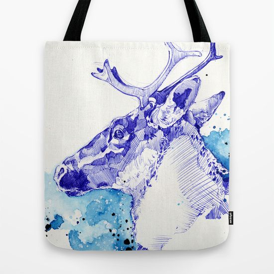Marie-Eve Arpin - Art www.facebook.com/... Ciel Boréal ( Étude de Caribou ) 2015. Society6. Tote bag. Deco Design Illustration Animal Caribou Art