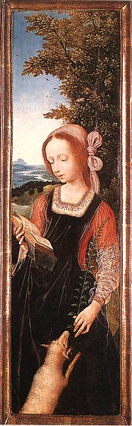 Altarpiece panel with St Agnes, Quentin Massys. (Augusta State University)