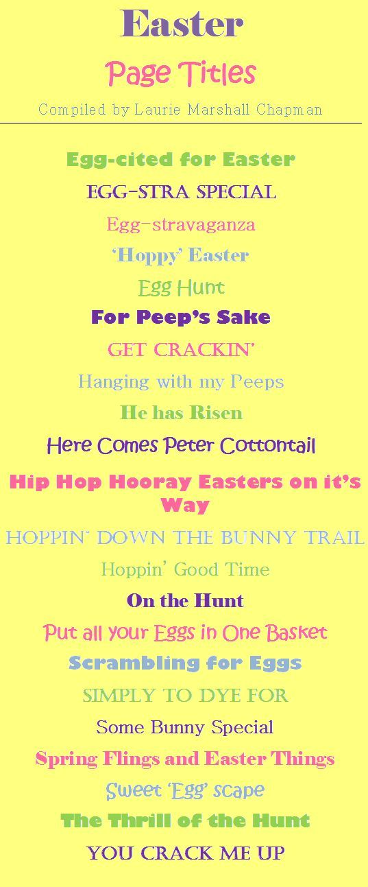Easter scrapbook titles.