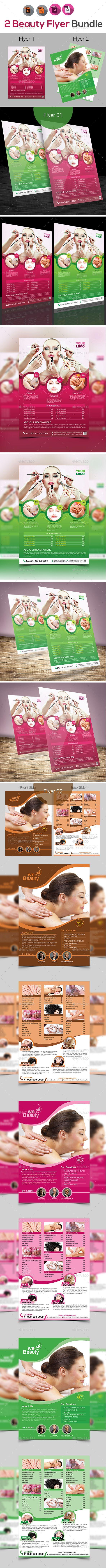 Spa | Beauty | Salon Flyer Template Bundle - Vector EPS, InDesign INDD, AI Illustrator