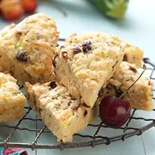 Sweet and tender scones loaded with cherry and zucchini.