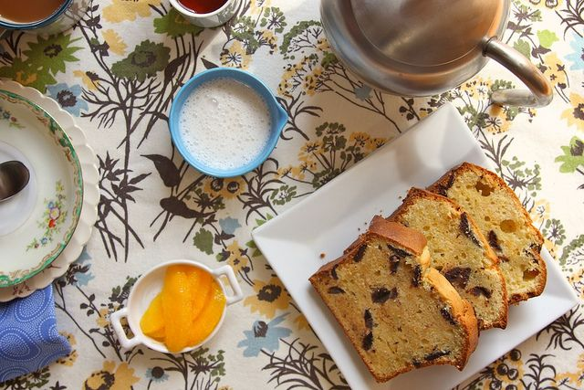 Orange, chocolate chip, cream cheese pound cake. Must make this for my mom when she comes!