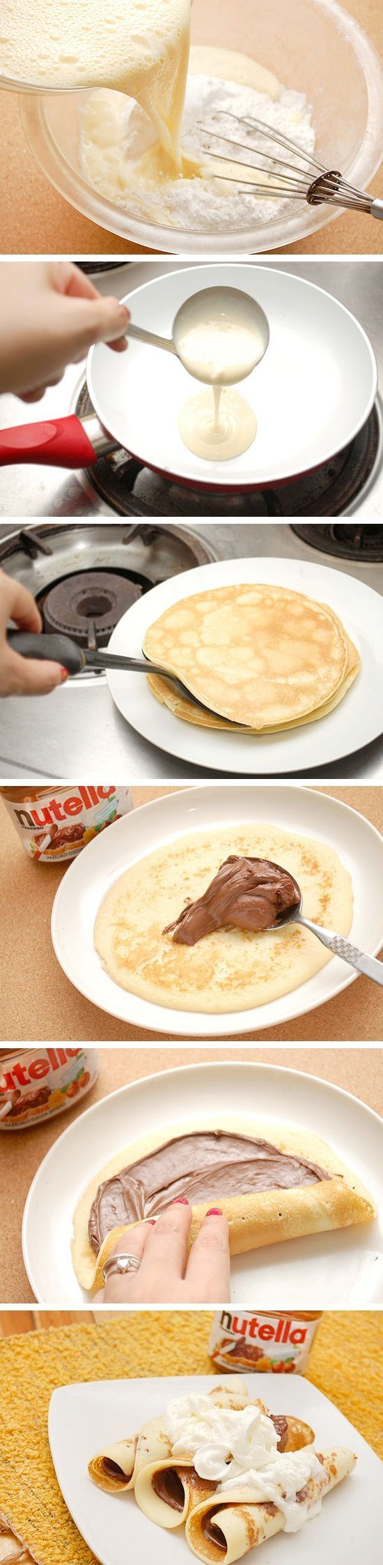 Nutella Crepes: 1+1/8 cups Flour, 1/2 tsp Baking soda, 1 tbsp Sugar, A pinch of Salt, 3 Eggs, 1+1/2 cups Milk, 1 tbsp Butter, Nutella, 1 teaspoon Vanilla, Whip Cream (to serve with)