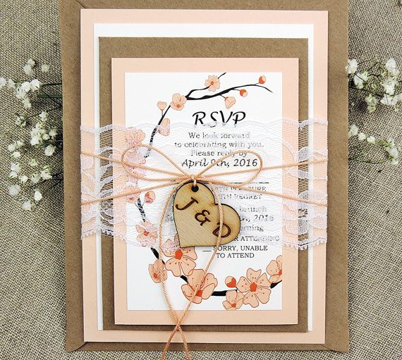 Rustic Lace Wedding Invitation Suite Peach Wedding Invitation Suite Rustic Peach Tree Invitations Vintage Wedding Invitation Set of 20