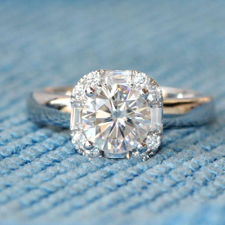 1ct Round Brilliant Moissanite Engagement ring,14k White gold,Baguette VS diamond Wedding Band,Halo,Aquamarine Morganite Birthstone Topaz by milegem on Etsy
