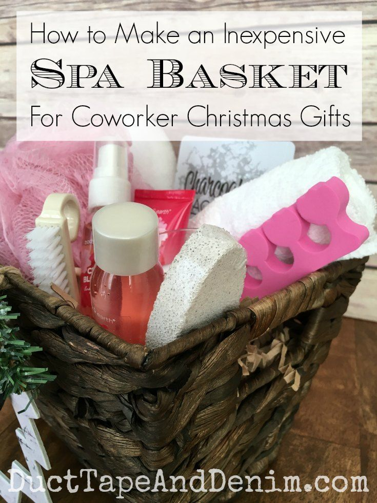 How to make an inexpensive spa basket for coworker Christmas gifts. More DIY Christmas gift ideas on http://DuctTapeAndDenim.com