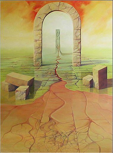 Brama 91 x 73 cm olej na płótnie
