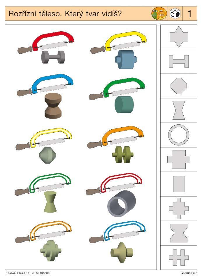 Soubor Logico Piccolo - Geometrie Geometrie 3 * Plochy - Tělesa - Perspektiva Vhodné pro děti 8 - 11 let 16 různých karet, které se vkládají do rámečku Logico Piccolo Určování řezů