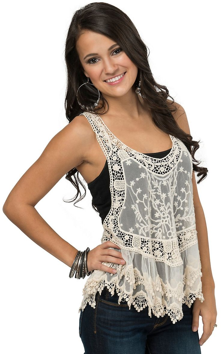 Panhandle Women's Cream Crochet and Lace Racerback Top | Cavender's
