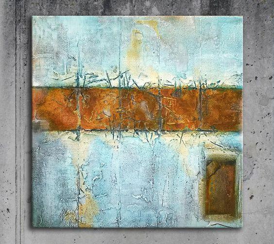 Annette Freymuth nettis-art Quadratisches Materialbild mit Struktur echtem Rost und Metall sandige Spachtemasse squares industrial mixed media turquoise rust