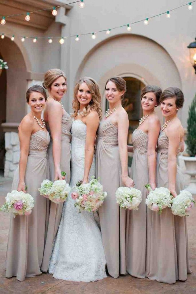 Blush And Champagne Bridesmaid Dresses