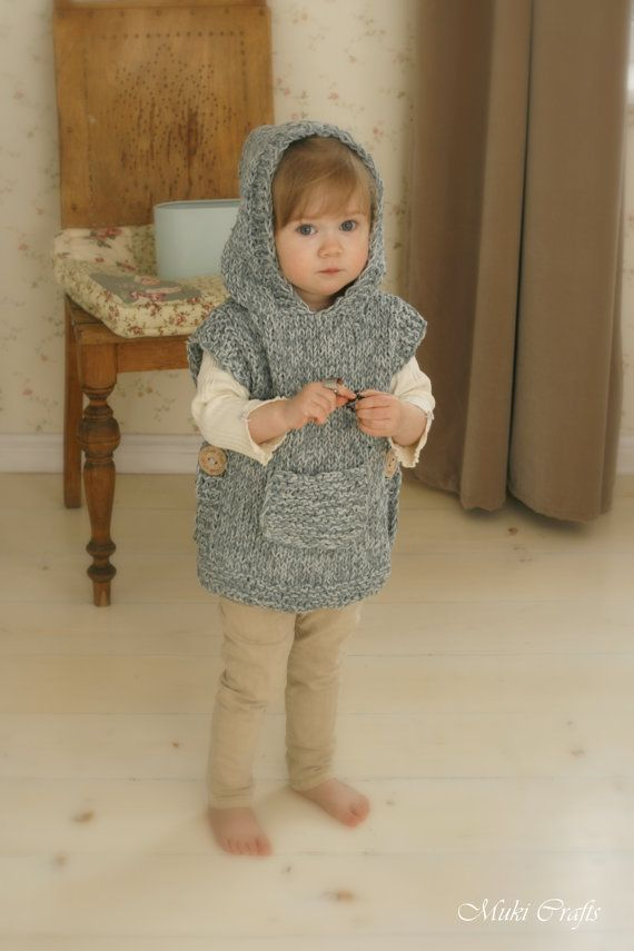KNITTING PATTERN chunky hooded poncho Phoebe toddler by MukiCrafts: