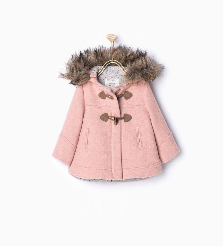 duffle coat capuche fourrure manteaux b b fille 3 mois 4 ans enfants zara france mode. Black Bedroom Furniture Sets. Home Design Ideas
