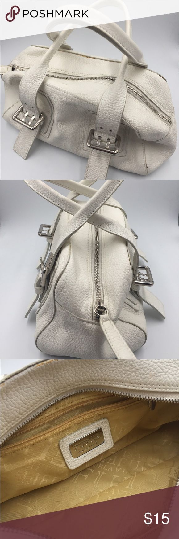 "White Furla Handbag White leather Furla Handbag. Measures approximately 12""L x 5""H x 4""W. Straps measure about 6"" from top of bag to bottom loop. Good condition with light stain in lining from gloss and at top seam as shown in 3rd photo. Bags"