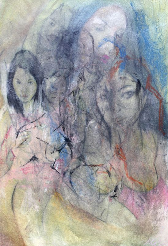 Diaphanous Figures of History | Charcoal and Oil Pastels on Fabriano | 2015