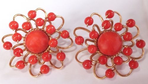 Large Vintage Estate Atomic Age 18K Solid Gold Natural Salmon Red Coral Earrings | eBay