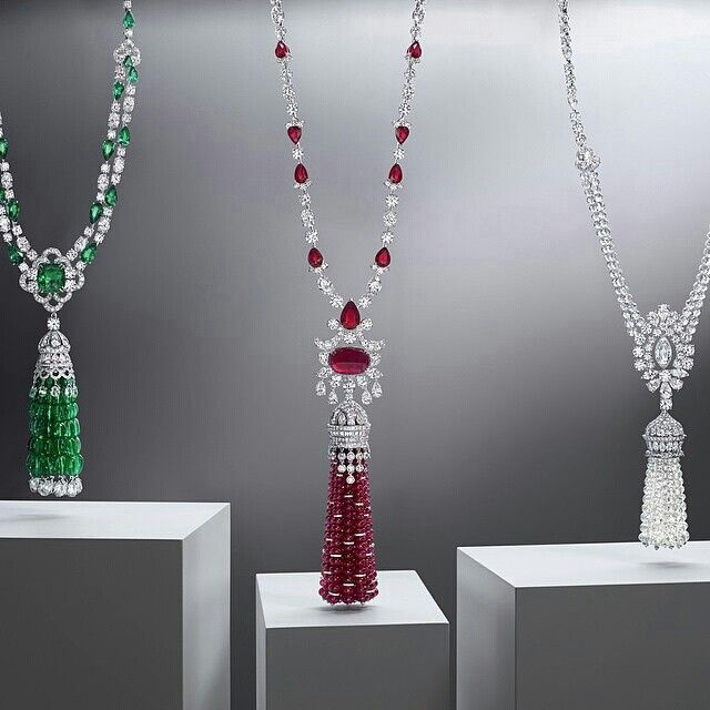 Featuring the finest emeralds, rubies and white diamonds these dynamic tasselled jewels are perfect examples of Graff Diamonds' gemstone expertise