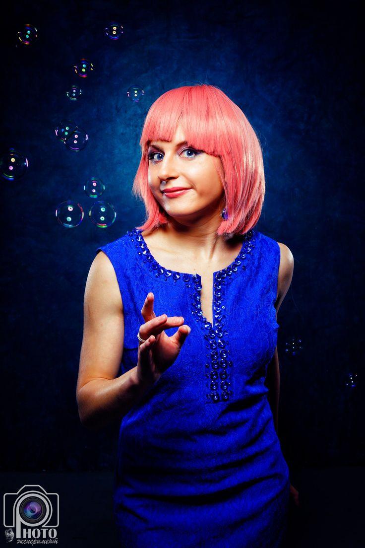 женский портрет, мыльные пузыри, студия