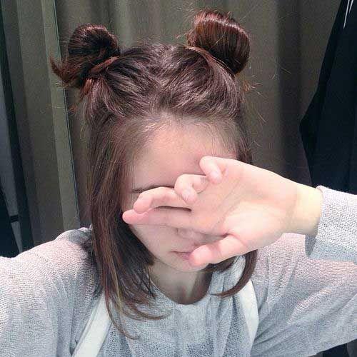 Cute Bun Hairstyle for Short Hair