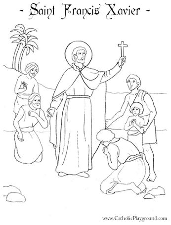 Saint Francis Xavier coloring page for Catholic children.  Feast day is December 3rd.