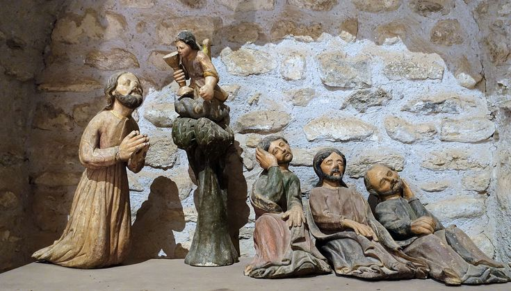 #11th century #abbey #apostles #christ #codalet #eastern pyrenees #france #heritage #olive garden #passion #pre romanesque art #saint michel cuxa