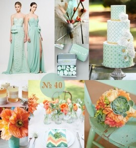 Mint Green And Orange Wedding