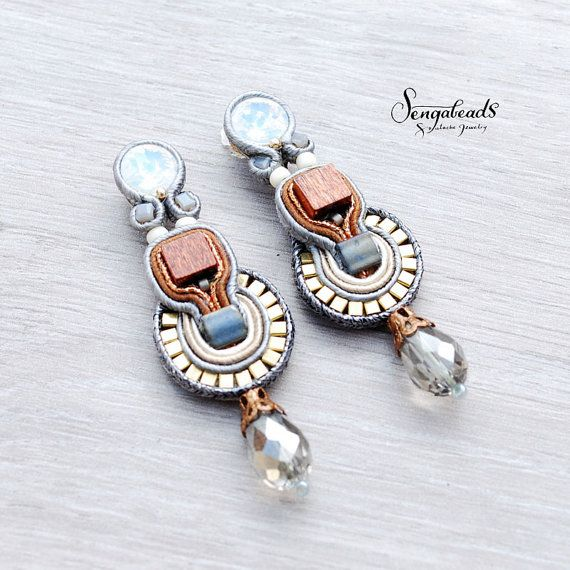 Chestnut brown, gray and gold soutache earrings with opal white rivoli crystal…