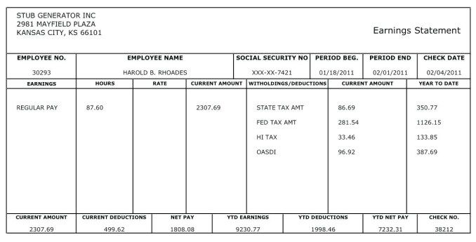 Free Pay Stub Templates For Google Docs Brochure Word 2016