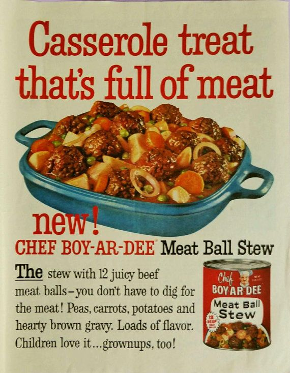 vintage 1959 food ad meat ball stew magazine advertisement mid century kitchen wall decor