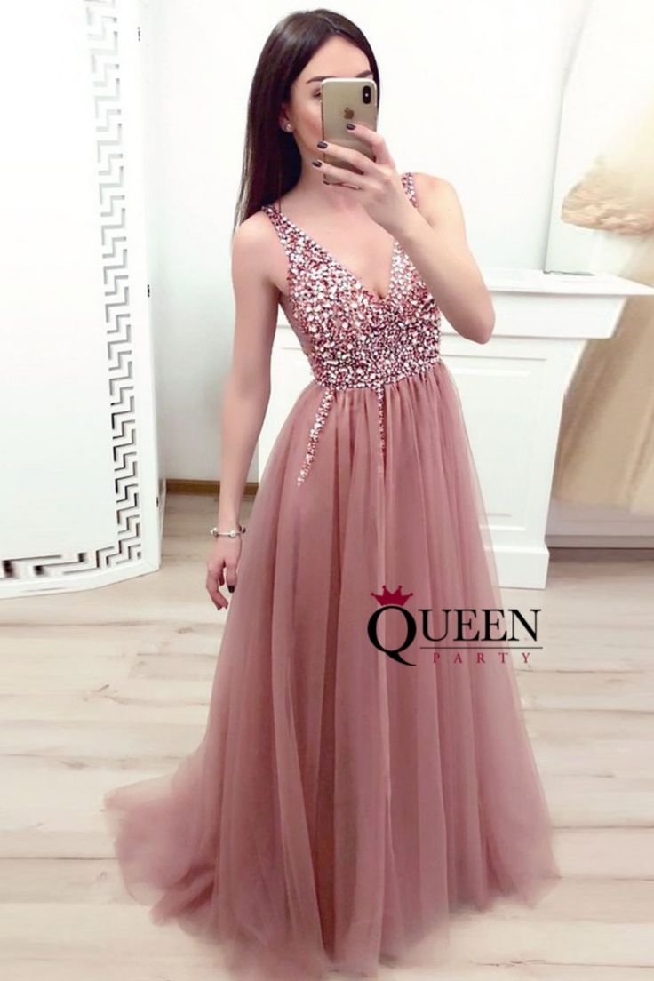Long Dusty Rose Tulle V-Neck A-line Prom Dresses, Formal Gowns With Beaded Top from Queenparty