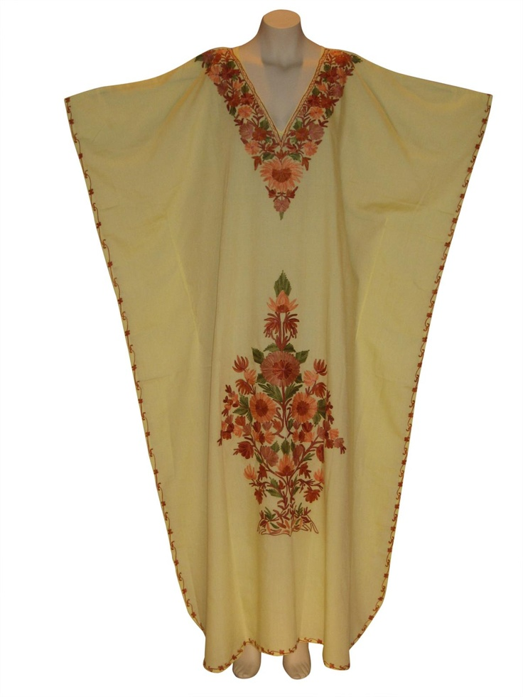Kaftan Caftan Dress from Kashmir with Ari Embroidery : Yellow from Kaftan Connection
