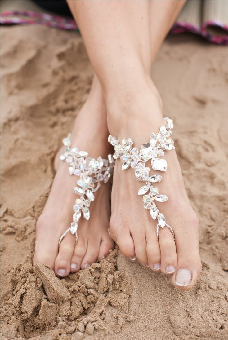 Ariana Poppy Barefoot Sandals From Elegant Steps Stunning One Size Fits All Sandal Foot Jewellery Perfect For Beach Weddings Elasticated