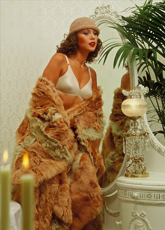Loving the contrast between the silk and the fur! #the80s #throwbackthursday