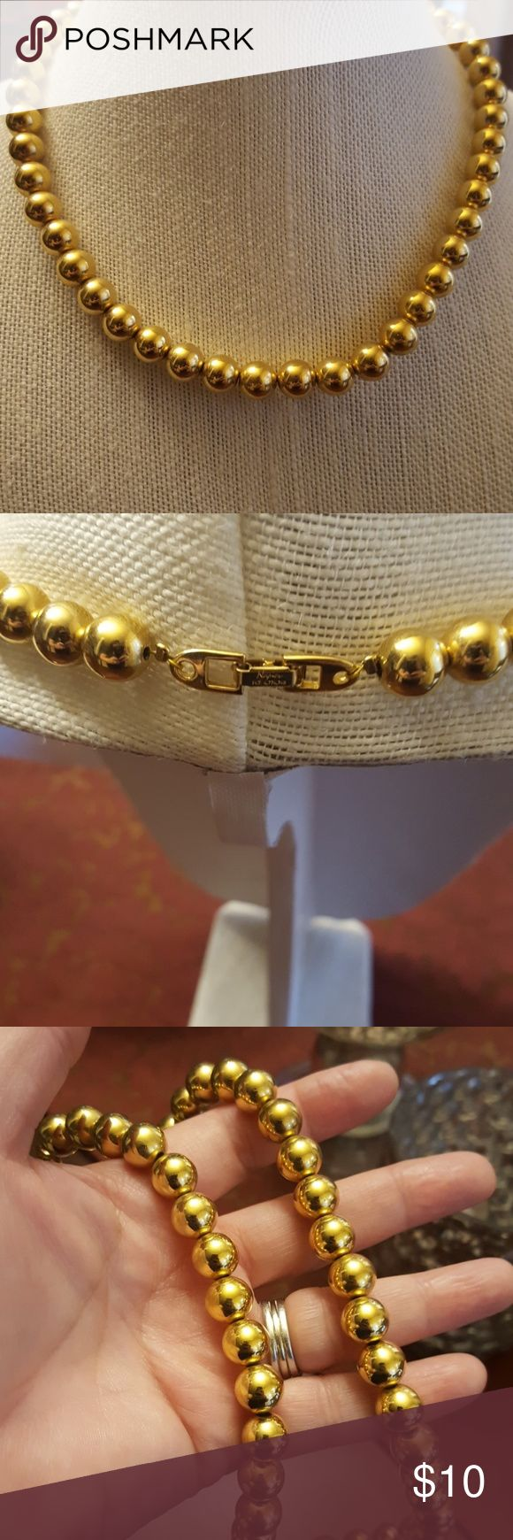 """NAPIER NECKLACE This is a gold toned Napier Necklace with large beads.  It's 18"""" and in mint condition.  Signed on the clasp. Napier Jewelry Necklaces"""