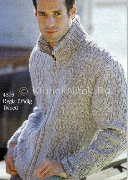Мужская куртка | Вязание мужское | Вязание спицами и крючком. Схемы вязания.