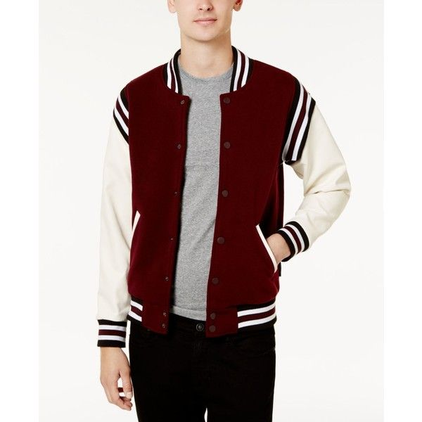 Ring of Fire Men's Varsity Jacket ($28) ❤ liked on Polyvore featuring men's fashion, men's clothing, men's outerwear, men's jackets, burgundy, mens burgundy bomber jacket, men's varsity style jackets, mens varsity jacket and mens varsity bomber jacket