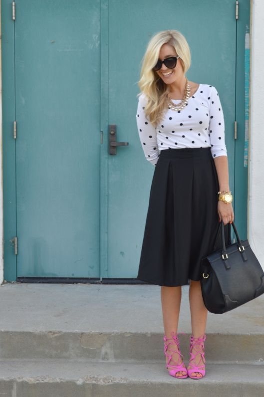 Pair a neutral midi skirt with lace-up sandals in a bright hue for a color pop.
