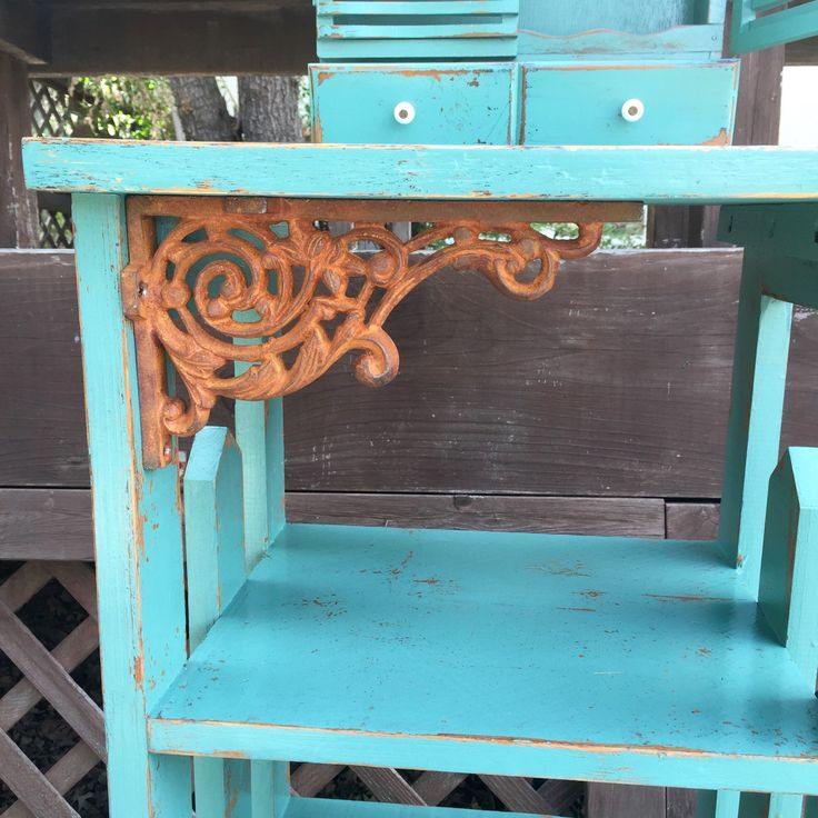 Shabby Chic Bookcase vintage seafoam green by ReincarnatedwithLove