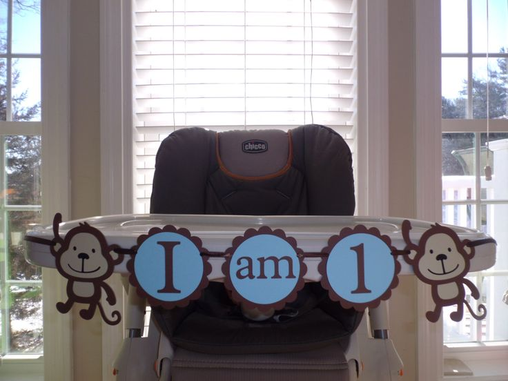 """MONKEY First Birthday high chair banner """"I am 1"""",  girl birthday, boy birthday,  first birthday,  monkey Safari Jungle birthday. by CreativePartyBanners on Etsy https://www.etsy.com/listing/121297213/monkey-first-birthday-high-chair-banner"""