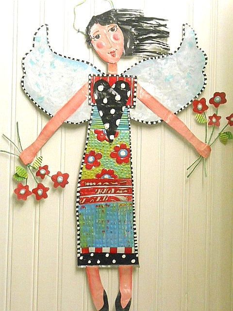 Garden Angel Whimsical Metal Wall Or Garden Art By