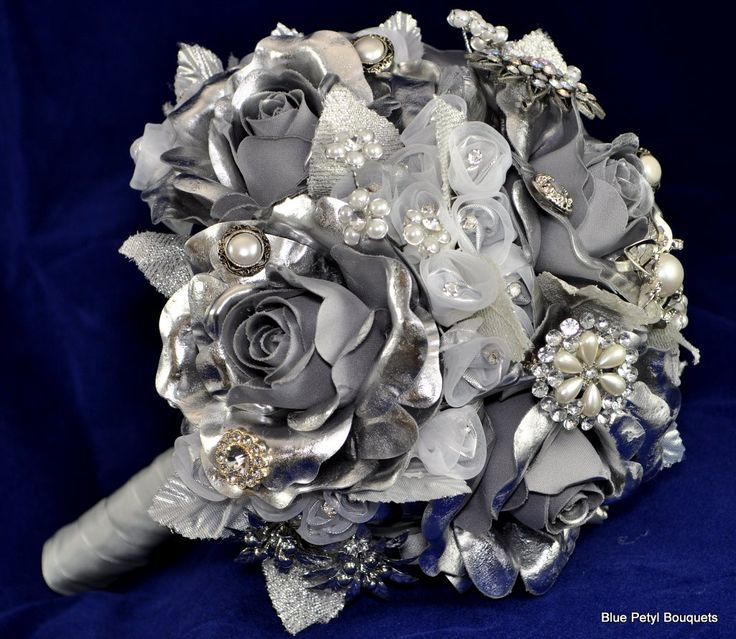 Silver Wedding Flowers | alternative bouquet, bridal bouquet, brooch bouquet, jeweled bouquet ...