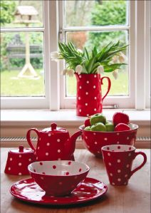 Red polka dot ceramics. I am very fond of red polka dot anything!