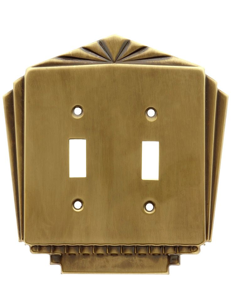 Art Deco Switch Plates. Stamped Brass Deco Style Double Gang Toggle Switch Plate in Antique-By-Hand Finish