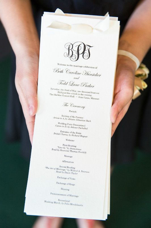 Simple elegant Black and Ivory wedding ceremony program, satin ribbon program, Elegant wedding monogram  Indianapolis Custom Wedding Stationery | Laser Cutting | Graphic Design