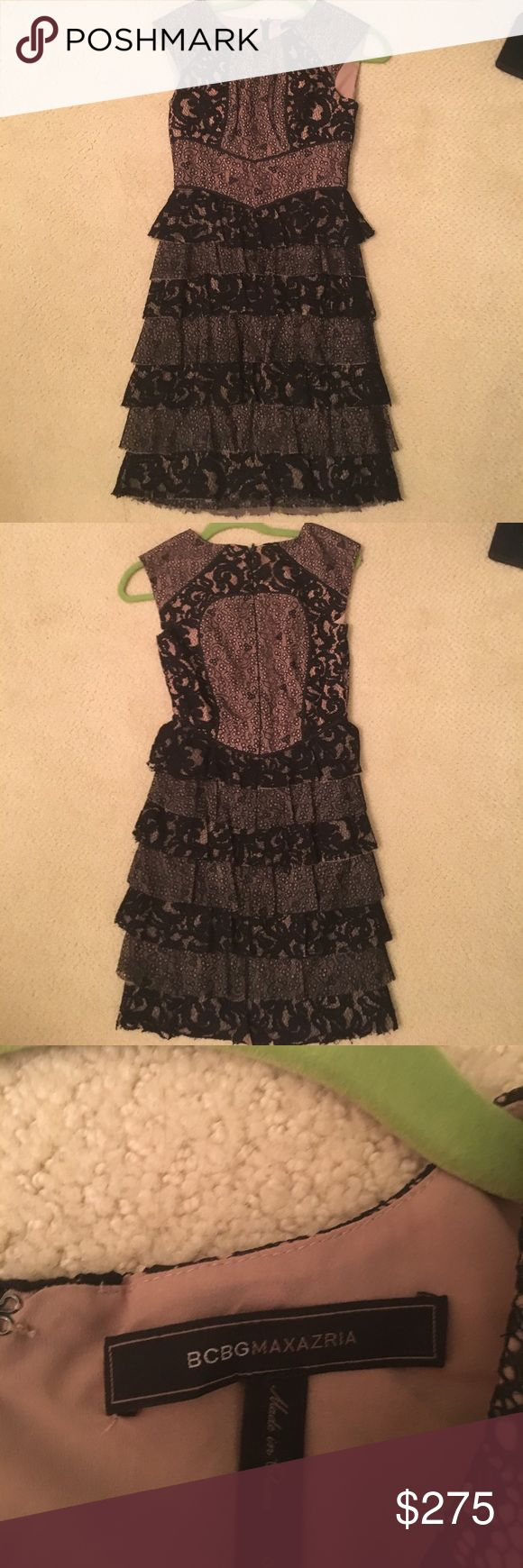 BCBG dress black dress Lace dress worn for my sophomore year homecoming and hasn't been worn since. Taking best offer! Don't worry about listing price just taking best offer!! BCBGMaxAzria Dresses