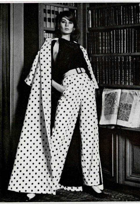 Coat with matching wide leg high waisted pants 1965 Guy Laroche