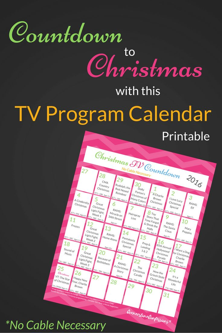 Countdown to Christmas with this TV Program Calendar Printable.  No cable necessary.  Great way to view the 2016 Christmas TV Schedule via @CornerstoneKat
