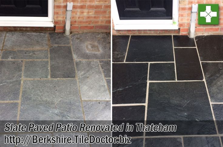 Details below of a job I completed earlier in the summer in the Berkshire town of Thatcham which is just east of Newbury. The customer had a lovely Slate Patio installed the year before which had not been sealed by the builder and it had since become dull, light grey and unpleasing to the eye. Additionally there was a haze on tiles from sand and cement that had been used to point between the paving which the customer couldn't remove.