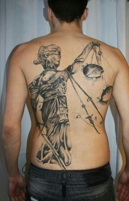 Tattoo Lady Justice: Blind Justice Tattoo